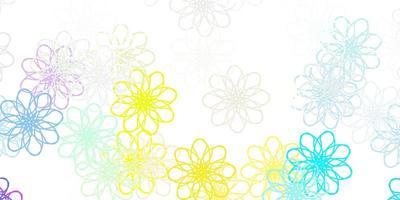textura de doodle vetor multicolorido leve com flores