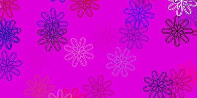 modelo de doodle de vetor multicolor de luz com flores