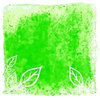 Aquarela verde moderna deixa o fundo vetor