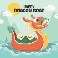 Bolinhos de arroz fofos em um barco dragão vetor