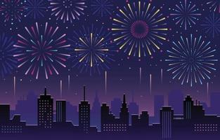 fogos de artifício na noite da cidade vetor