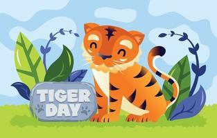 tigre fofo para campanha do dia do tigre vetor