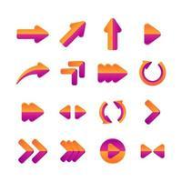 conjunto de elementos de seta vetor