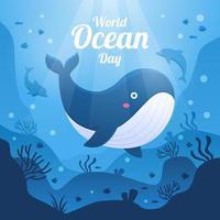 baleia fofa no dia mundial do oceano vetor
