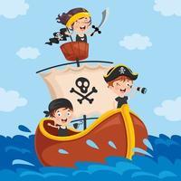 crianças piratas fofas posando vetor