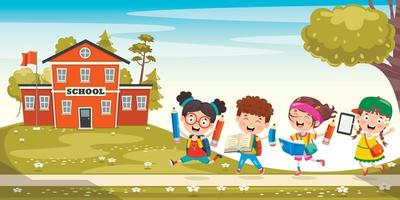 feliz fofo desenho animado crianças em idade escolar vetor