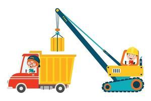 garoto engraçado usando máquina de construção vetor