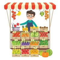 mercearia verde com várias frutas e vegetais vetor