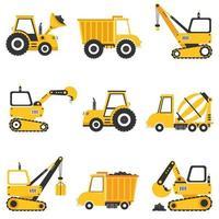 conjunto de várias máquinas de construção vetor