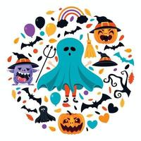 conceito de halloween com personagem engraçado vetor