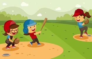 atividade de softball de verão vetor
