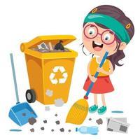 garoto engraçado limpando o ambiente vetor