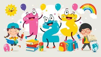números de desenhos animados coloridos vetor
