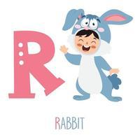 personagem em fantasia de animal mostrando a letra do alfabeto vetor