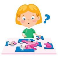 criança brincando de quebra-cabeça colorido vetor