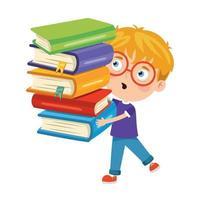 criança fofa e engraçada carregando livros vetor