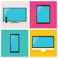 dispositivos digitais em fundo colorido vetor