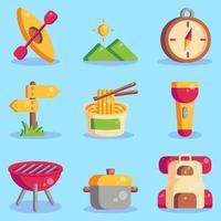 coleções de ícones de acampamento de verão vetor