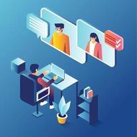 conceito de reunião virtual vetor