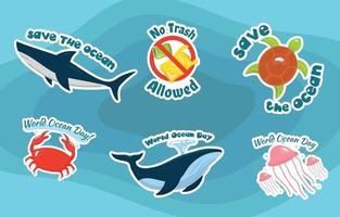 adesivos do dia mundial do oceano vetor