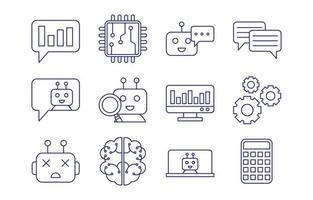 conjunto de ícones de linha simples do chatbot vetor