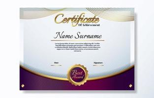 modelo simples e elegante de prêmio de certificado vetor