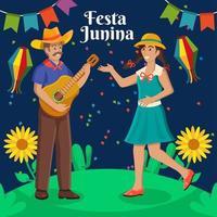 casal dançando e cantando na festa junina vetor