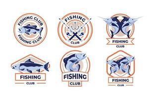design plano do emblema do clube de pesca vetor