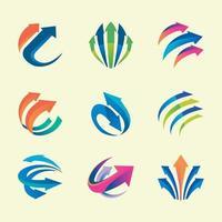 conjunto de sinal de seta para logotipo e distintivo vetor