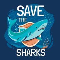 salve o conceito de pôster de tubarões vetor