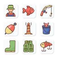 pacote de ícones de atividades de pesca ao ar livre vetor