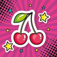 ícone de estilo pop art cerejas vetor
