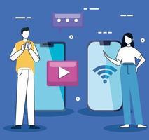 casal com smartphones e ícones de mídia social vetor