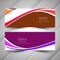 Conjunto de bandeiras onduladas coloridas elegantes abstratas vetor