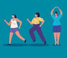 grupo de mulheres praticando exercícios de personagem avatar vetor