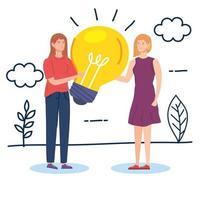 mulheres criativas com lâmpada na paisagem vetor
