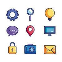 pacote de ícones de conjunto de negócios vetor