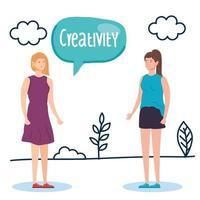mulheres criativas com balão na paisagem vetor