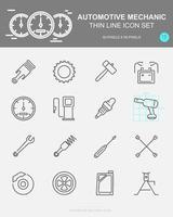conjunto de ícones de linha de vetor mecânico automotivo