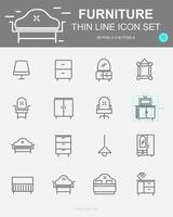 conjunto de ícones de linha de vetor de móveis