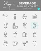 conjunto de ícones de linha de vetor de bebidas