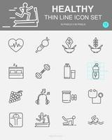 conjunto de ícones de linha de vetor saudáveis
