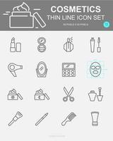 conjunto de ícones de linha de vetor de cosméticos