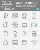 conjunto de ícones de linha de vetor de aparelhos