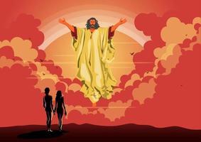 Deus abençoou adão e véspera vetor