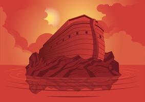 arca de noé e o grande dilúvio vetor