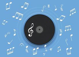 notas musicais no gramofone vetor