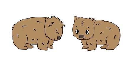 conjunto de dois contornos bonitos de vetor wombats marrons isolados de animais de desenho em fundo branco vista lateral primeiro está sorrindo, segundo fecha os olhos está feliz