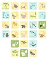 Cartões fofos do alfabeto inglês com animais de desenho animado ilustrações vetoriais do zoológico jacaré búfalo caranguejo golfinho peixes girafa hipopótamo coala leão muskox avestruz pinguim rinoceronte baleia tigre vetor