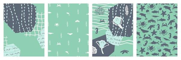 conjunto subaquático de oceano mar pôsteres com silhueta de desenho animado arraia peixes polvo caranguejo baleia algas planta aquática ilustração vetorial banner cartão postal colagem corte efeito de papel vetor
